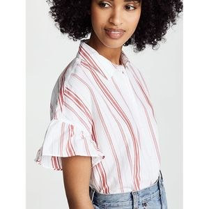 Madewell Ruffle Sleeve Central Shirt red stripes